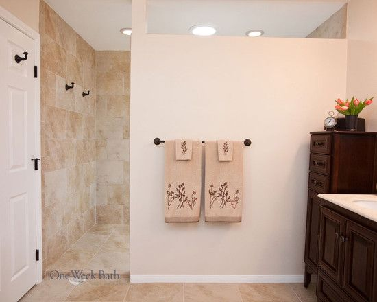 Traditional Bathroom Curbless Shower Design, Pictures, Remodel ...