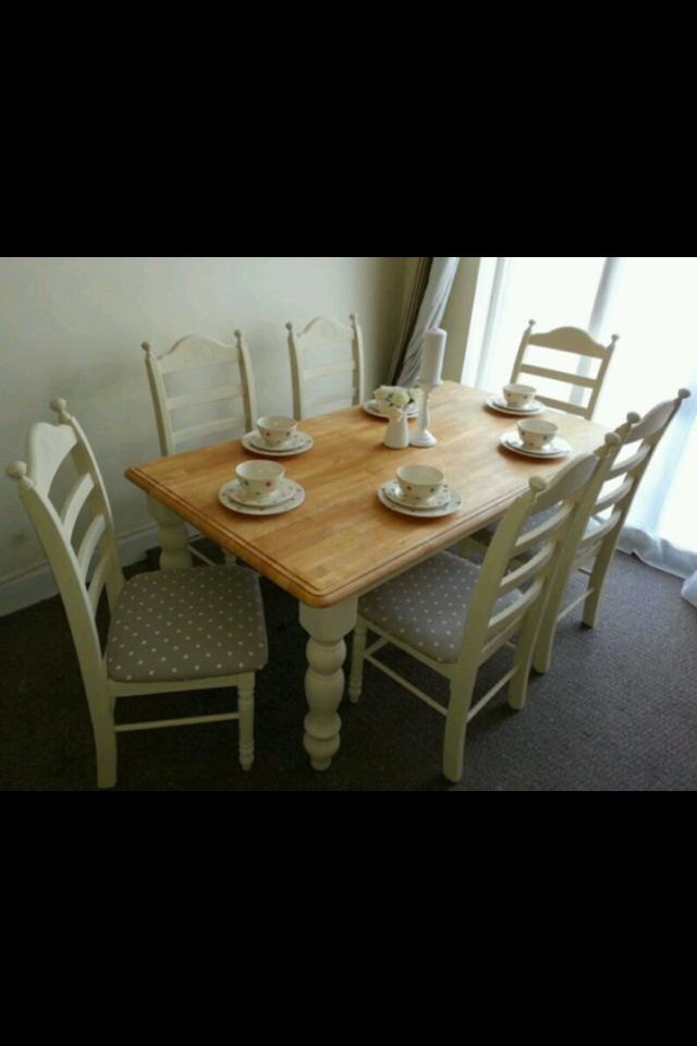 Refurbished table & chairs. Love polka dot seats...