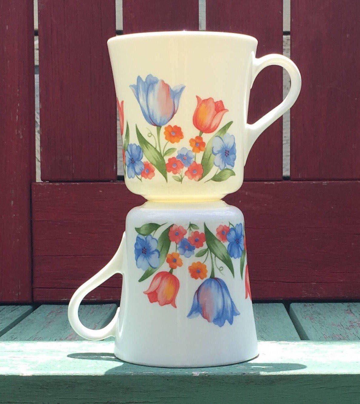 1980's Vintage 10oz Corning Blue Hearts Mugs Corning