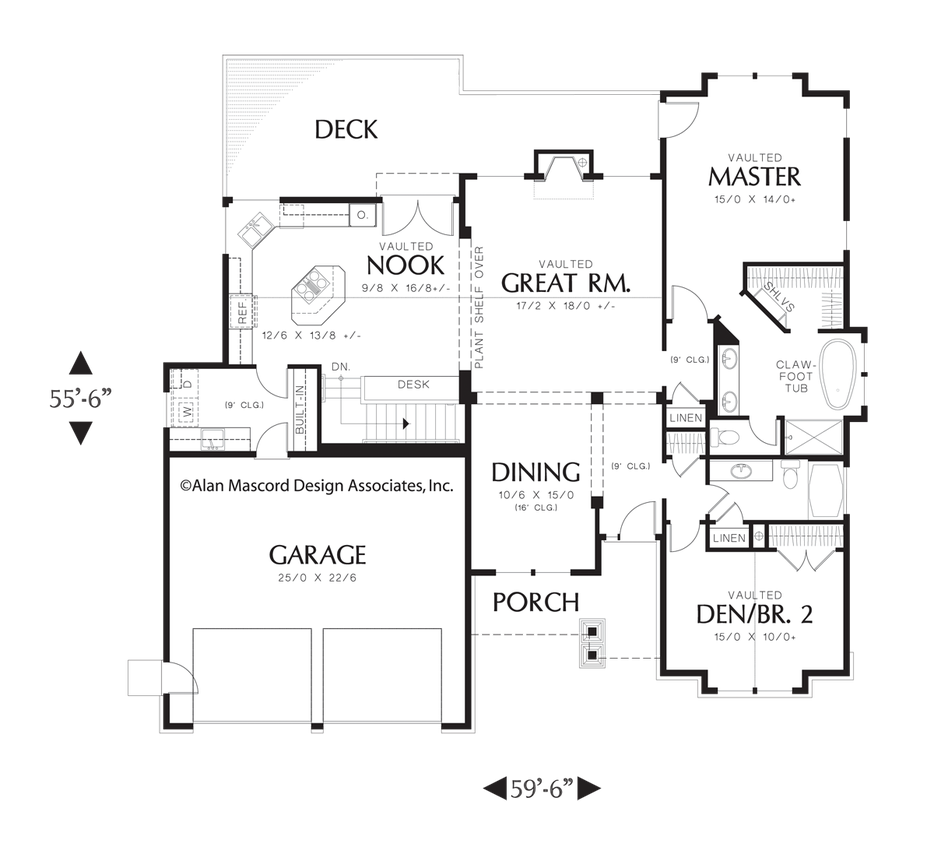 Mascord house plan 1201j basement plans and basements for Mascord plans