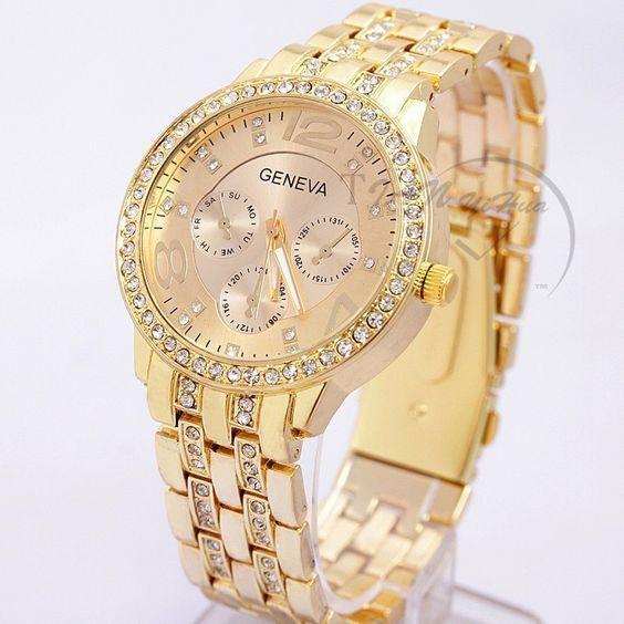 2016 New Famous Brand Women Gold Geneva Stainless Steel Quartz Watch Military Cr