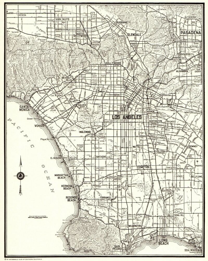 1937 Antique Los Angeles City Map Vintage Map Of Los Angeles California 6567 Los Angeles Map Art Gallery Wall Los Angeles Wall Art