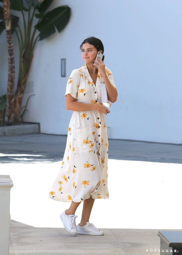 Selena Gomez Floral Shirt Dress September 2018 | Selena Gomez Mastered the Art of Wearing a Casual Shirt Dress With Her Shoes Alone