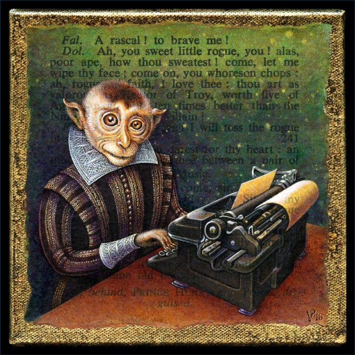 Infinite Monkey Acrylic Painting By Leah Palmer Preiss Of Shakespearean Monkey With Typewriter See