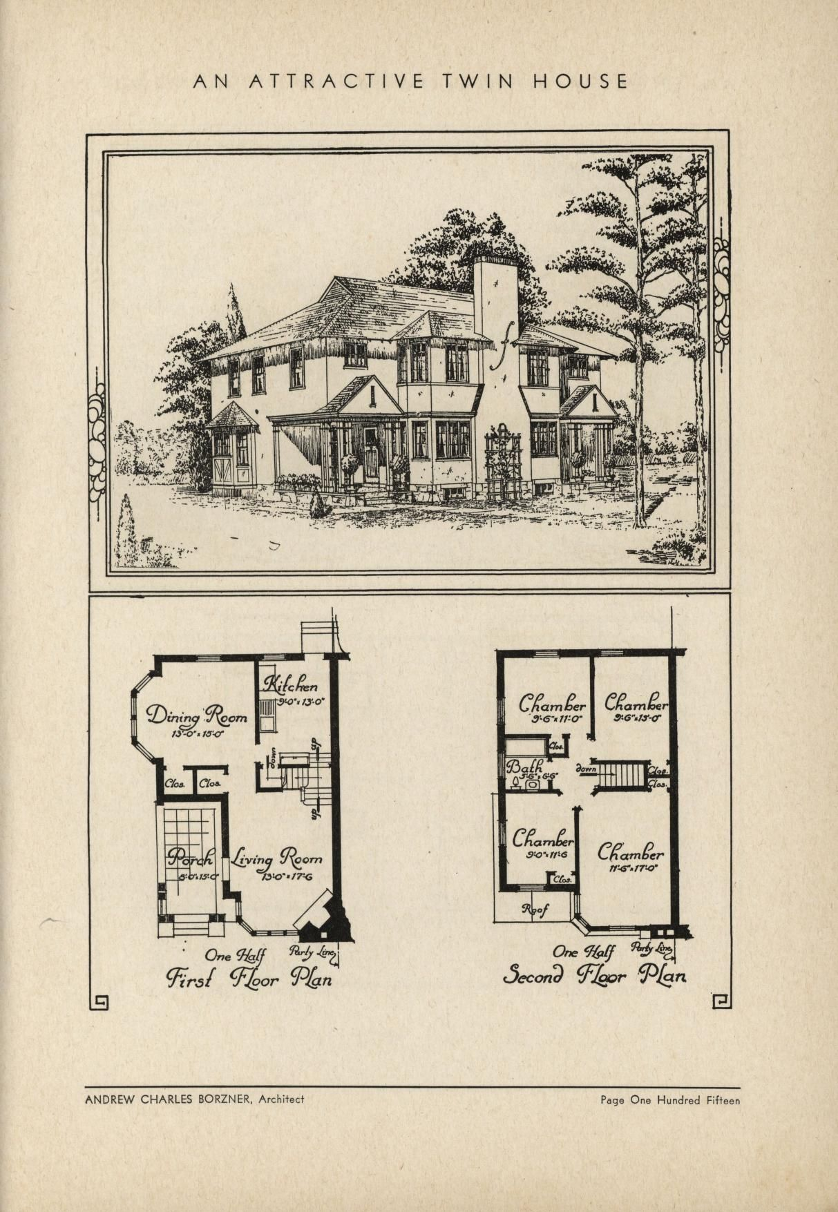 An Attractive Twin House By Architect Andrew Charles Borzner. The Book Of  Beautiful Homes.