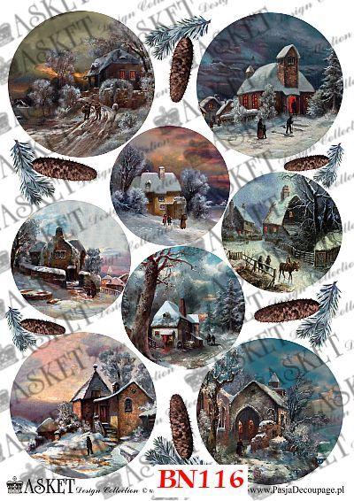 decoupage - motywy do bombek z widokami chatek i domków
