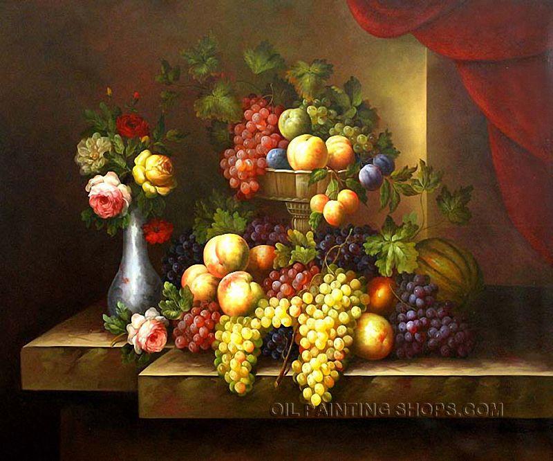 "Elegant Classical Painting Reproduction Still Lifes Fruit Painting Grape Peach, Size: 36"" x 24"", $116. Url: http://www.oilpaintingshops.com/elegant-classical-painting-reproduction-still-lifes-fruit-painting-grape-peach-1321.html"