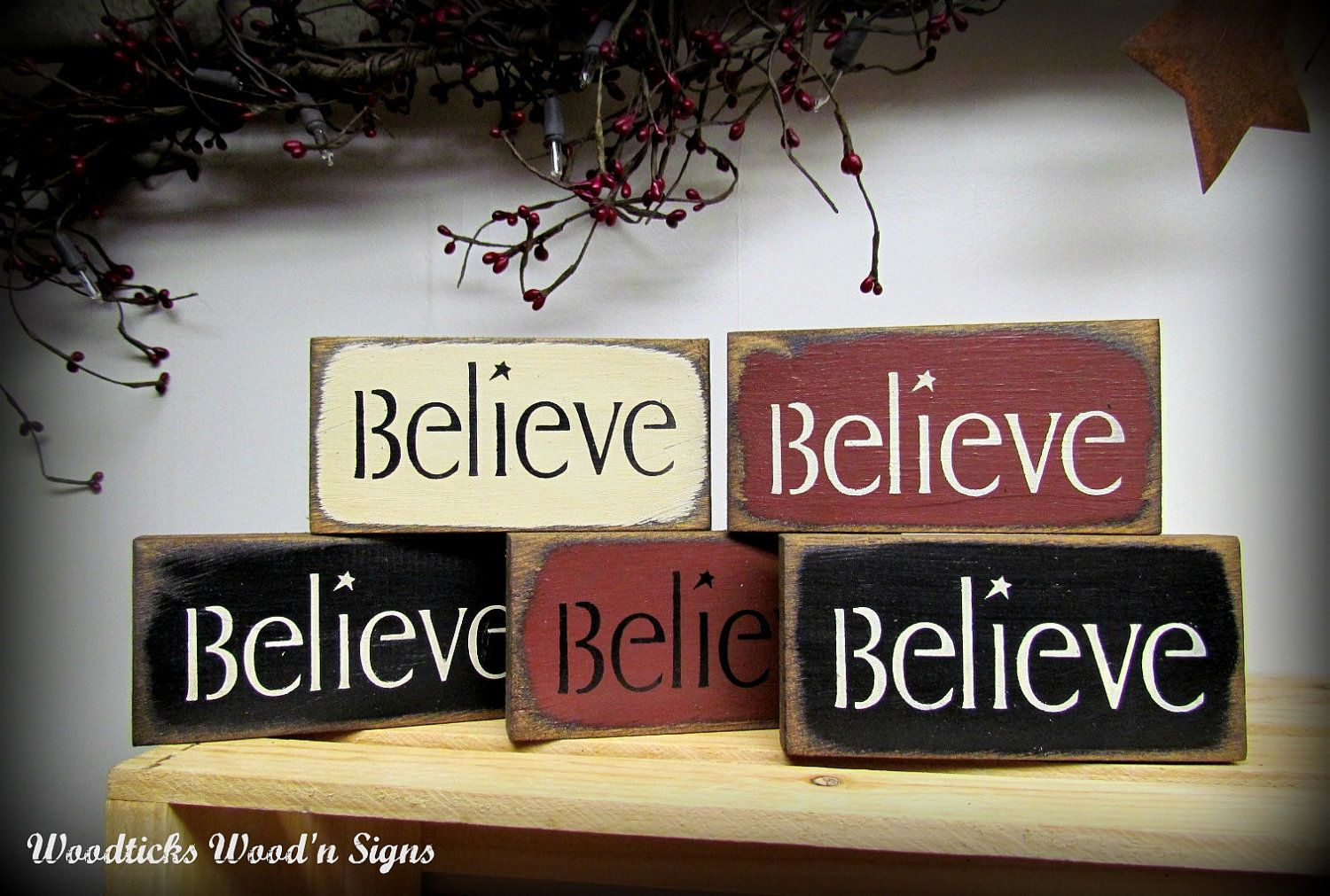Believe Signs Decor Believe Signs  Wooden Set Of 5 Signs  Holiday Christmas Decor