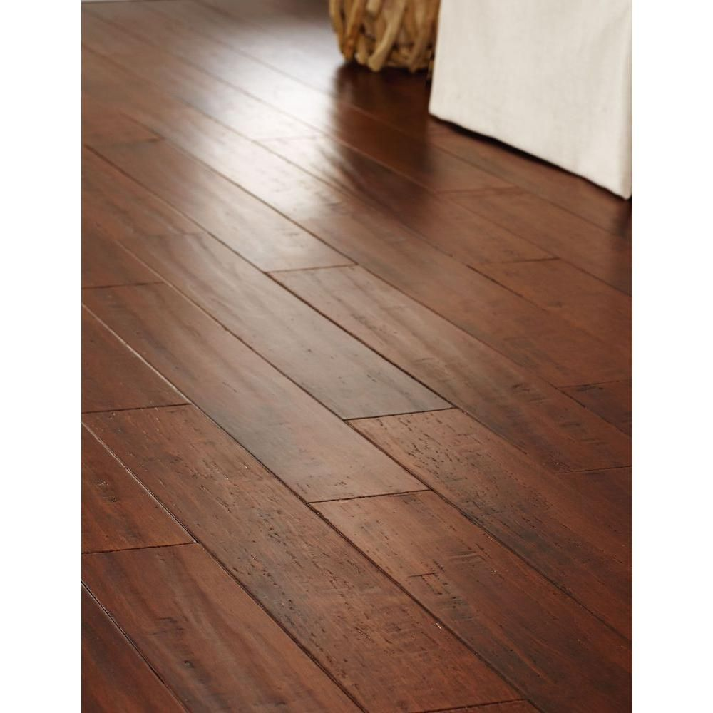 Home decorators collection handscraped strand woven brown for Engineered bamboo flooring