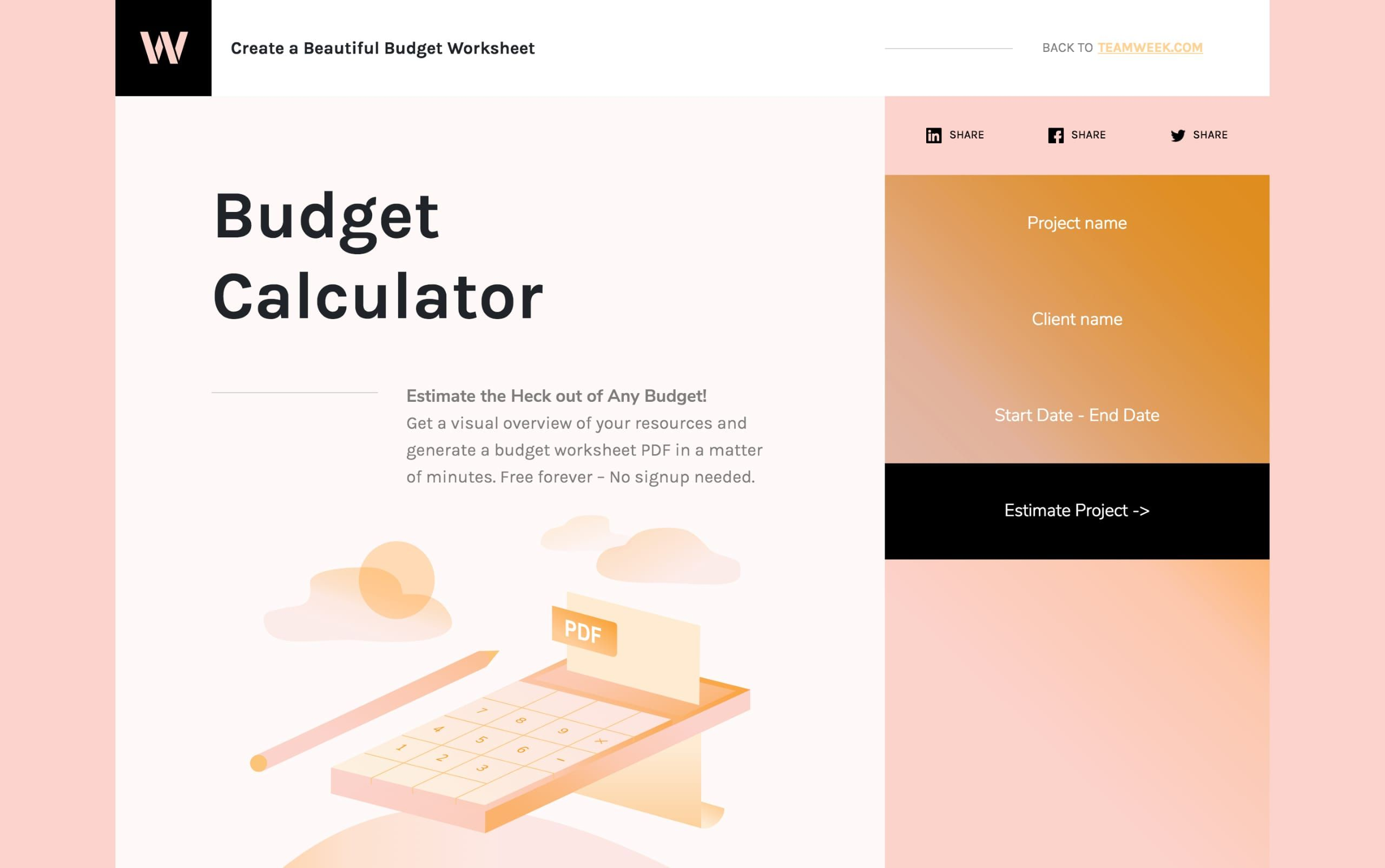 Smart One Pager For Budget Calculator
