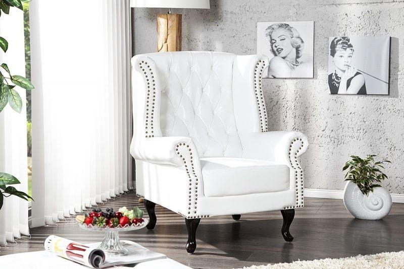 Fauteuil model chesterfield klassiek wit klassieke woonstijl