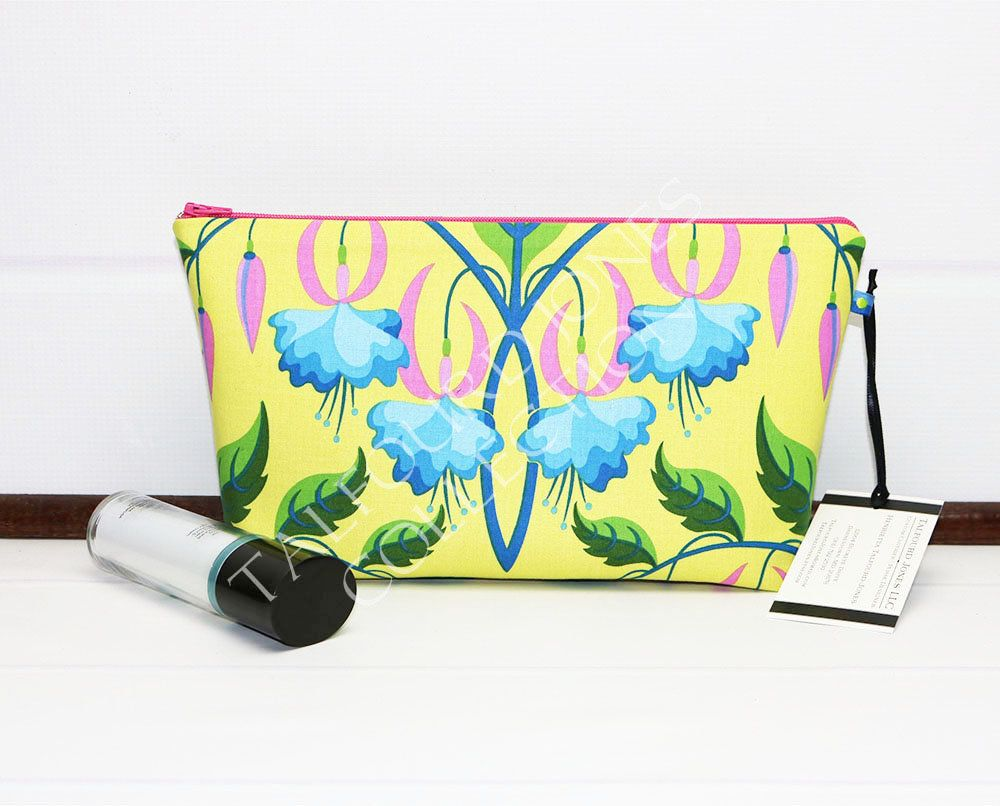 94768db32a Travel Toiletry Bag - Floral Cosmetic Bag - Medium Makeup Bag - Cosmetic  Pouch - Yellow Makeup Pouch - Wash Bag - Travel Makeup Bag by TalfourdJones  on Etsy