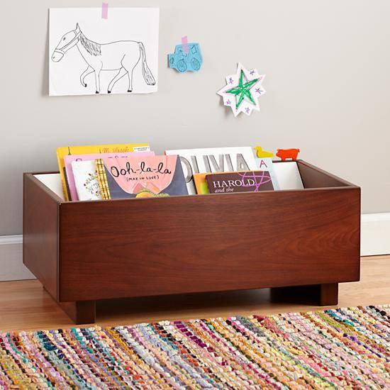 Kids Book Bins: Walnut Book Storage Bin In Bookcases U0026 Caddies
