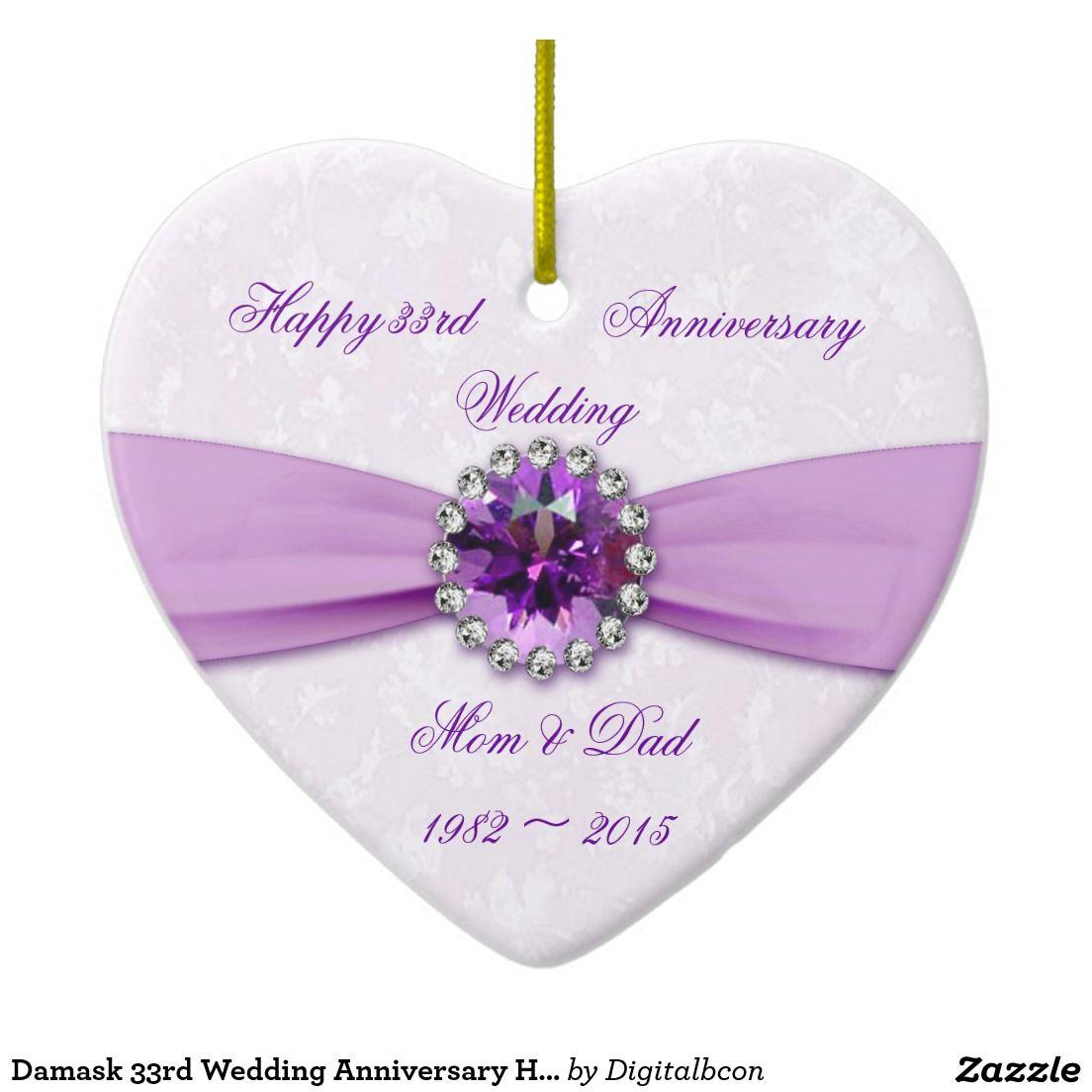 33rd Wedding Anniversary Gift: Damask 33rd Wedding Anniversary Heart Ornament