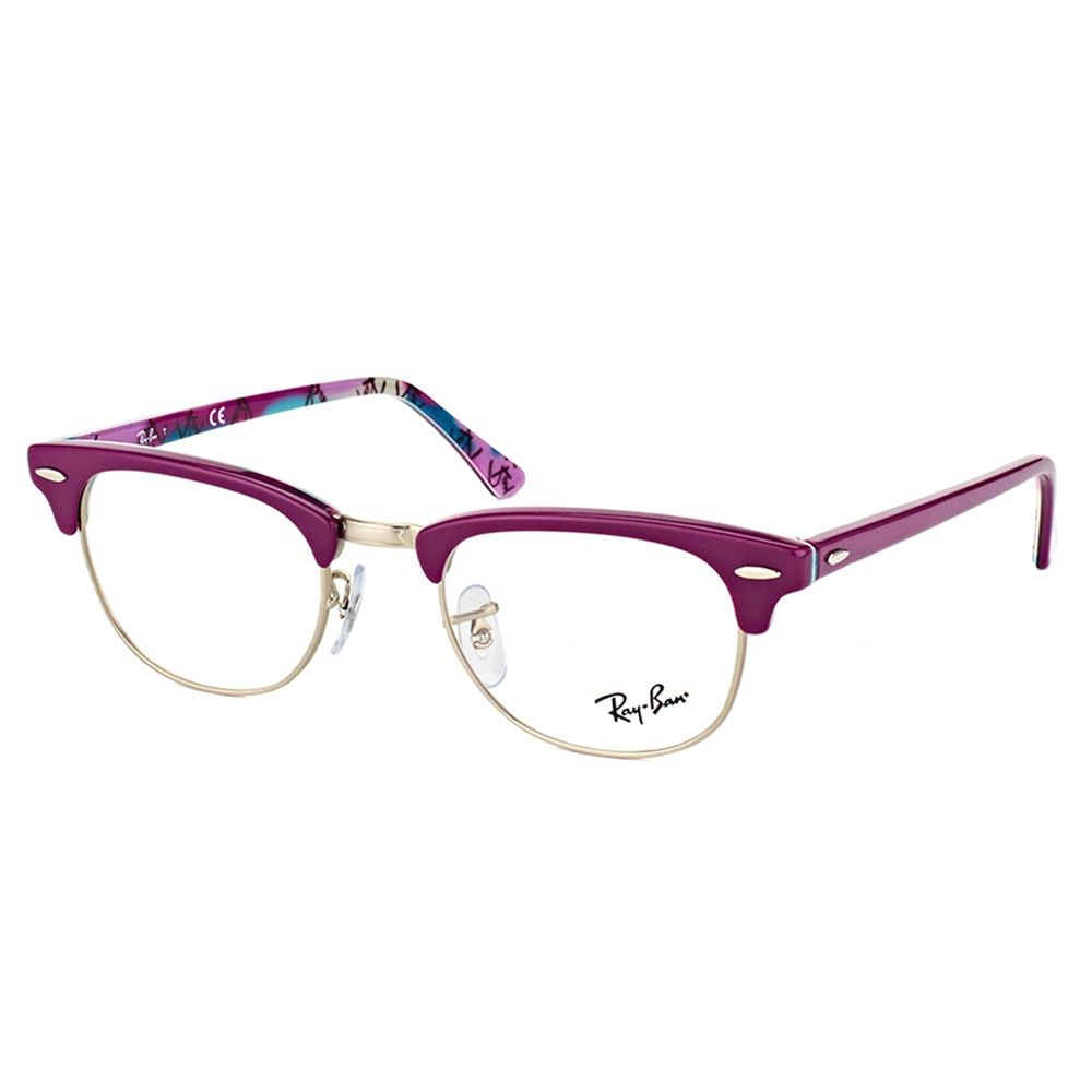 Ray-Ban RX 5154 5652 Clubmaster Violet on Logo 49-millimeter ...