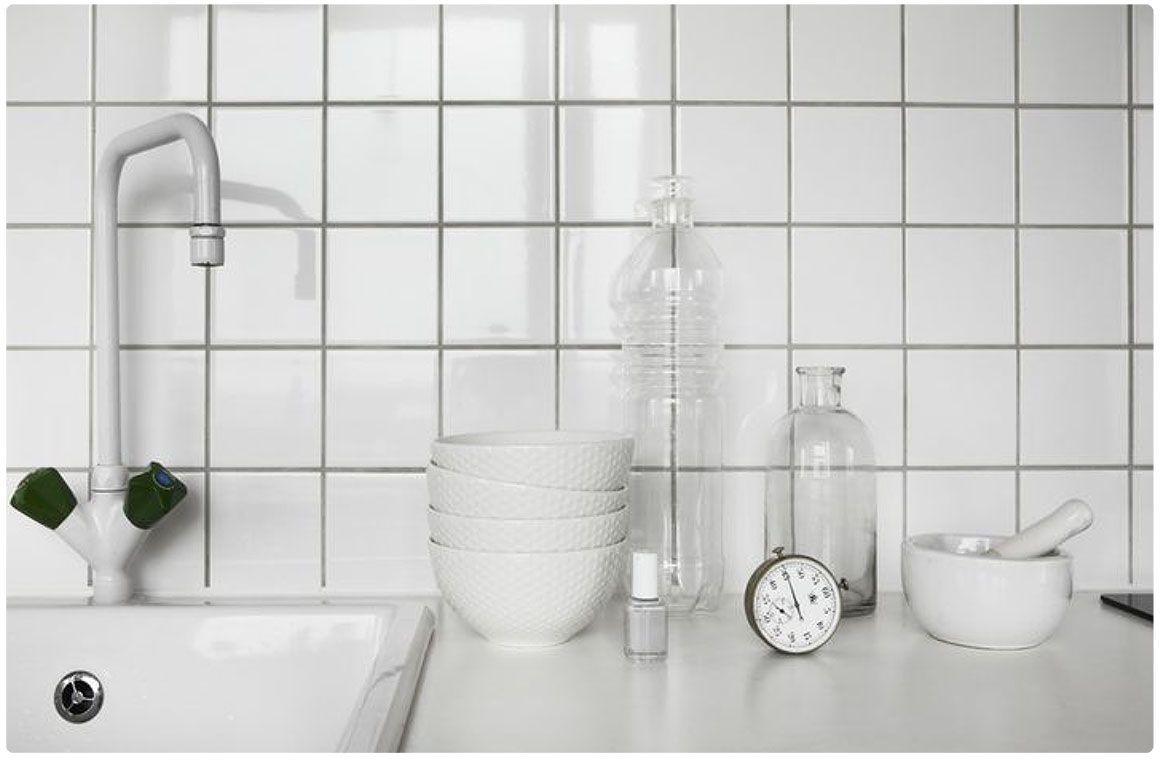 White Square Tile Bathroom kitchen with white tiles and tap and grey grout | kitchen
