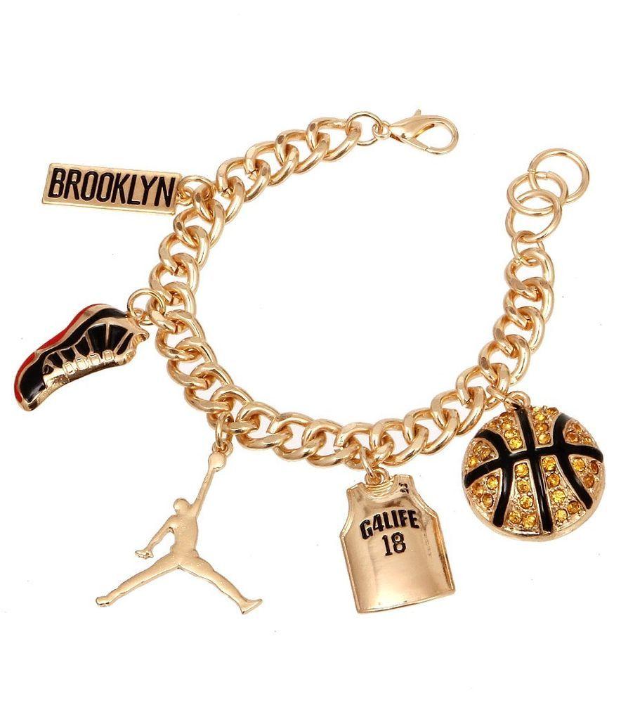 Gold Basketball Charm Chain Bracelet Jordan Sneaker Jersey Gold Plated # Charm #bracelet #jordan