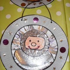 Astronaut drawn on aluminum foil. Cut circle from cards stock or paper plate. Then & Astronaut drawn on aluminum foil. Cut circle from cards stock or ...