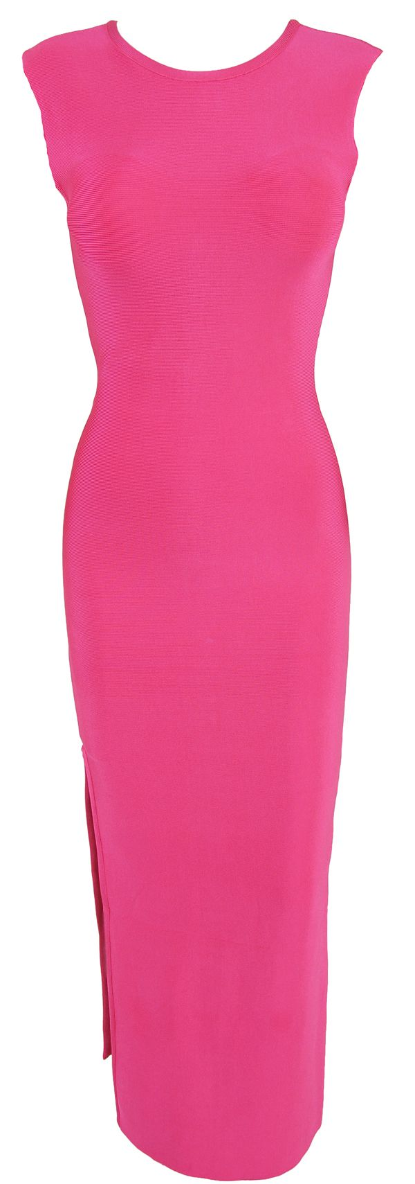 Hot pink maxi dress  Meliu Hot Pink Thigh Split Bandage Maxi Dress another sexy style for