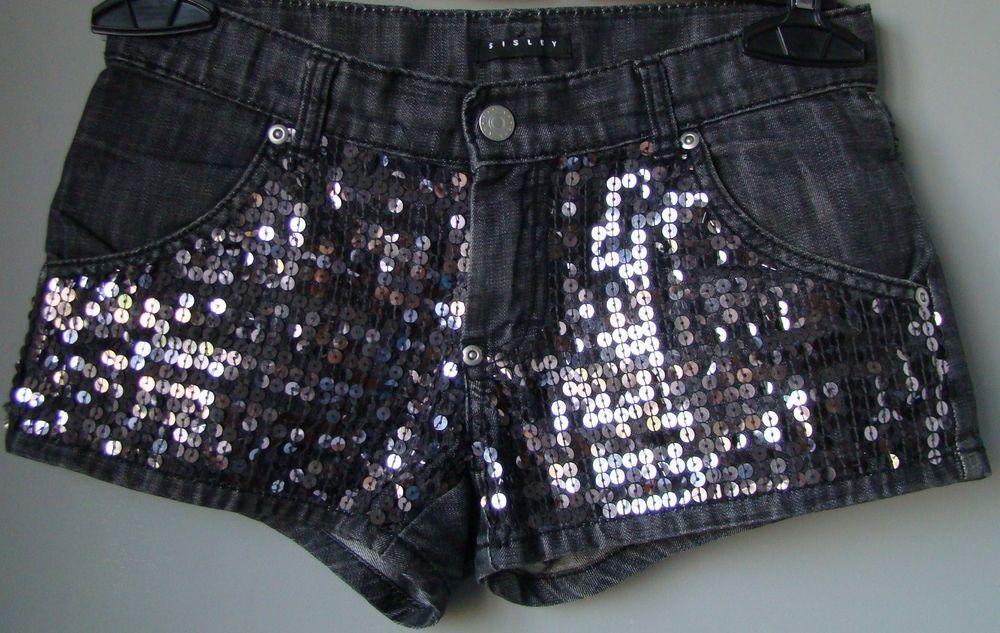 fd3fe43b63 Shorts culotte denim jeans SISLEY nero paillettes pantaloni corti ...