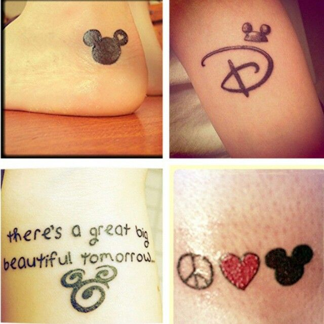 IF I were to get a tattoo, it would be the peace love Mickey.  but its not likely to happen.  I don't like needles