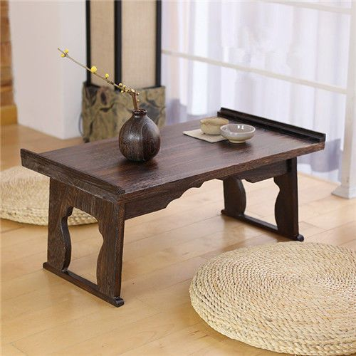 Anese Antique Tea Table Folding Legs Rectangle 60cm Traditional Chabudai Tray Tata