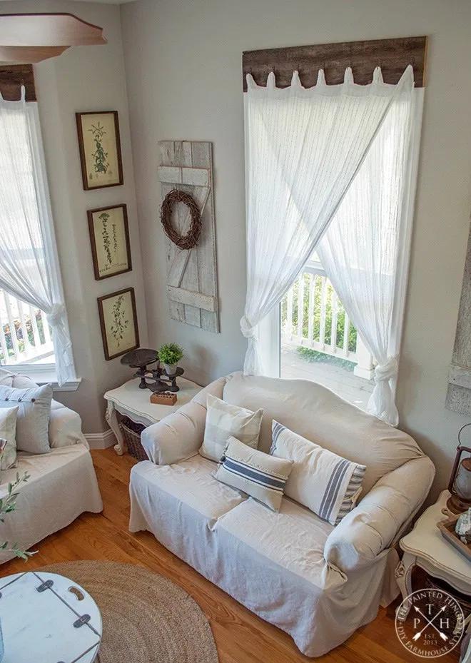 Farmhouse Window Treatments with Reclaimed Wood in 2020 ... on Farmhouse Curtain Ideas For Living Room  id=16308