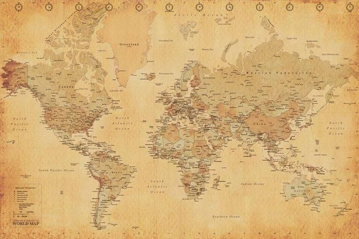 Sepia Tone Large World Map Home Map Posters Vintage Style - Large sepia world map