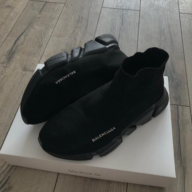 5db68e533243 Mens size Balenciaga Speed Trainers Mid Black fake in 2019 ...