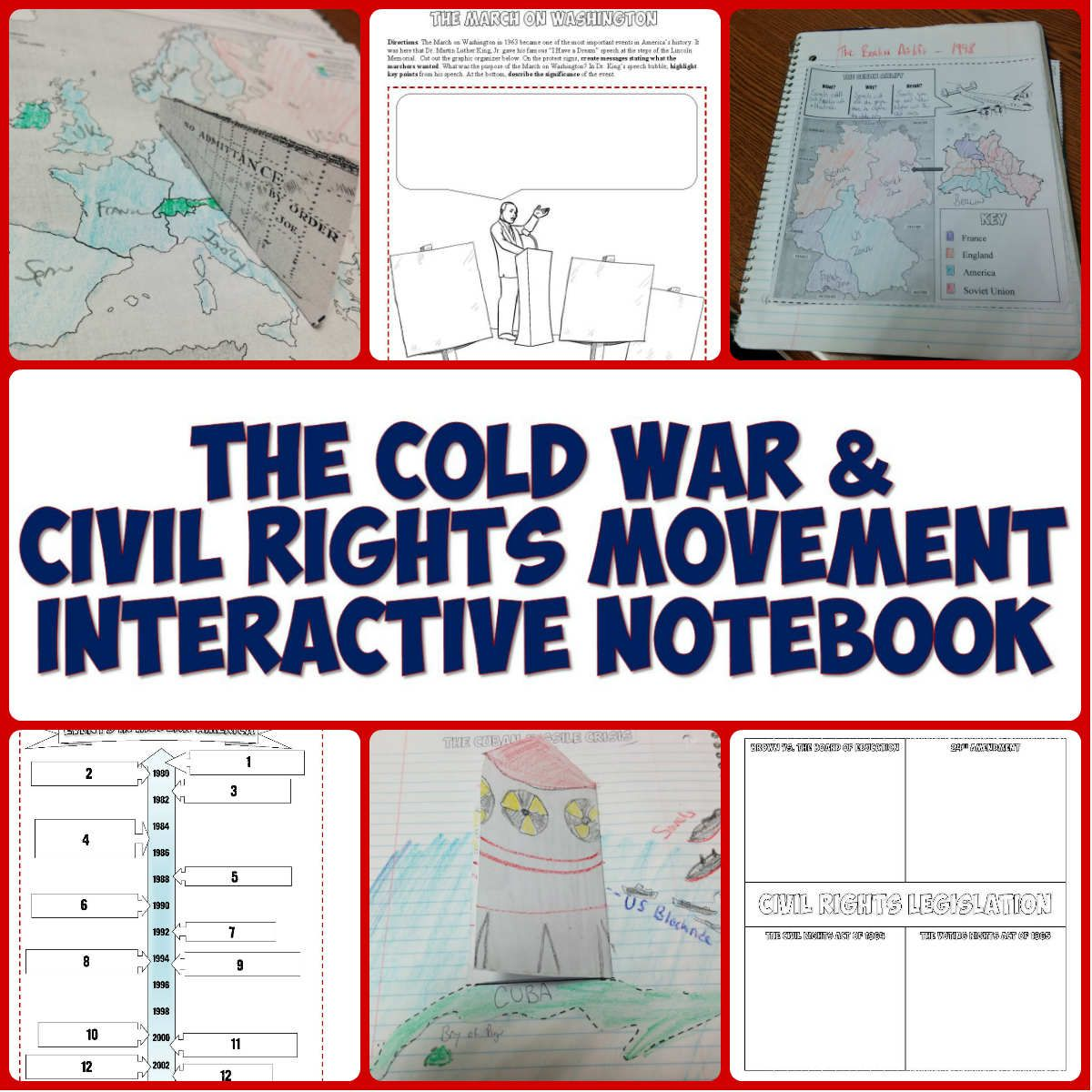 Cold War And Civil Rights Movement Interactive Notebook Bundle Interactive Notebooks Teaching History History Classroom