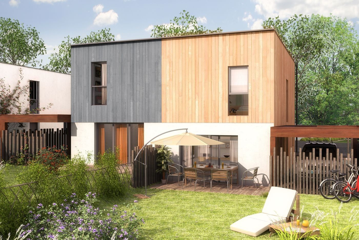 Perspective 3D de maison individuellePerspective 3D de maison côté ...