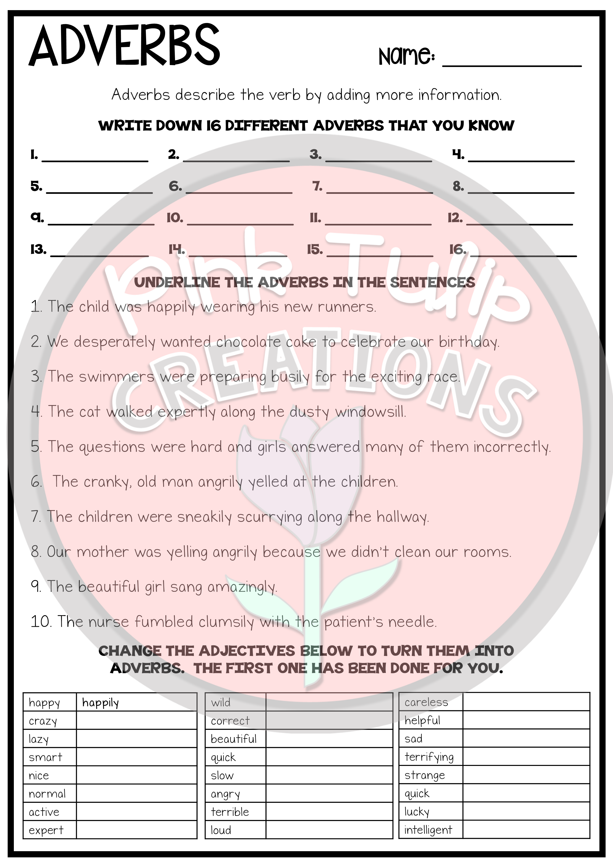 Understanding Adverbs Worksheets