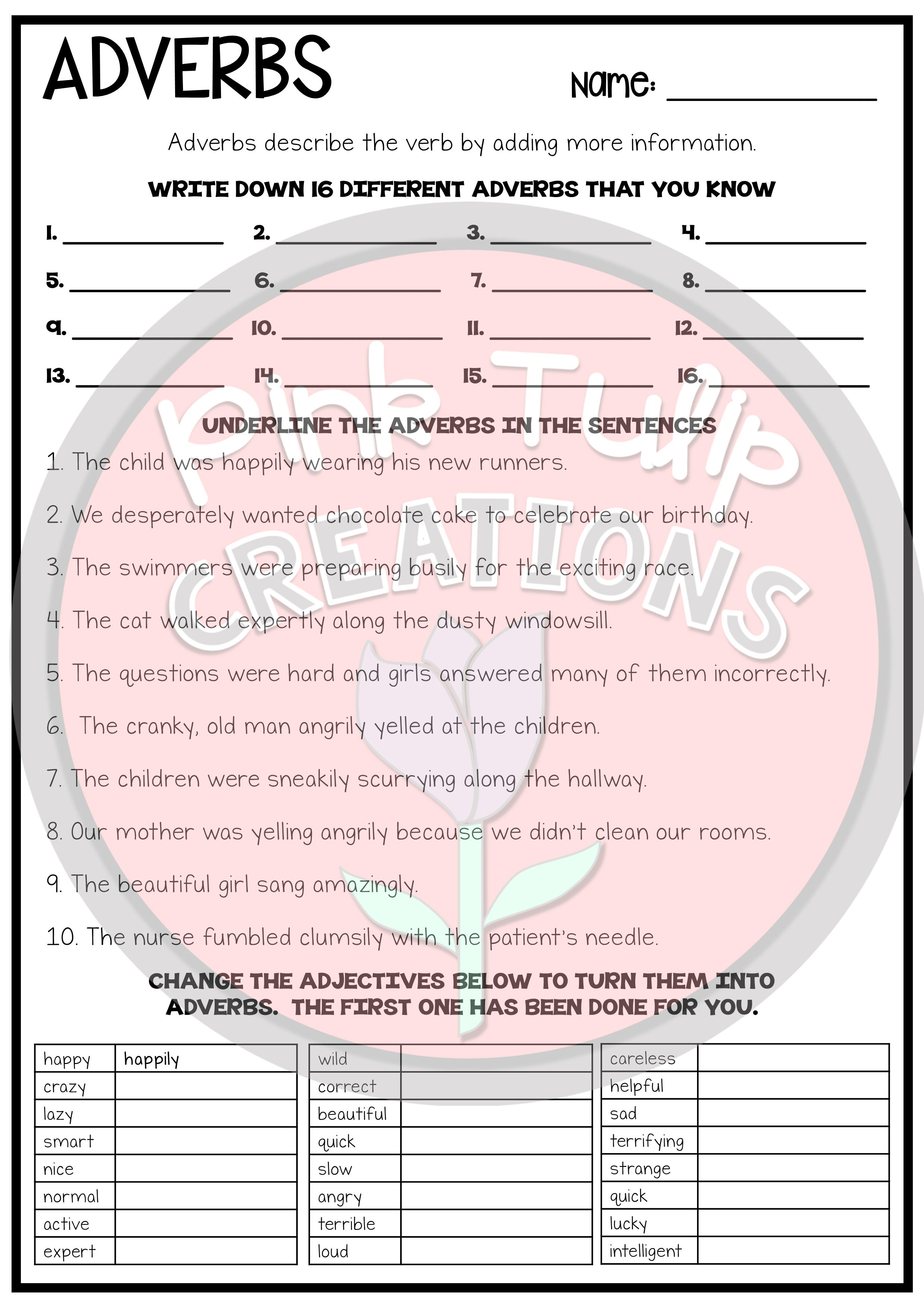 Understanding Adverbs Worksheets No Prep Printables Brnin Og