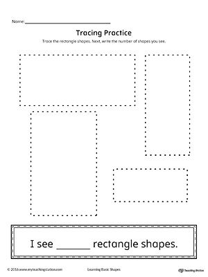 Geometric Shape Counting And Tracing Rectangle Preschool Worksheets Shapes Worksheets Pattern Worksheet