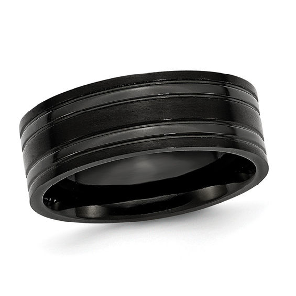 Men S 8 0mm Grooved Wedding Band In Black Ip Titanium