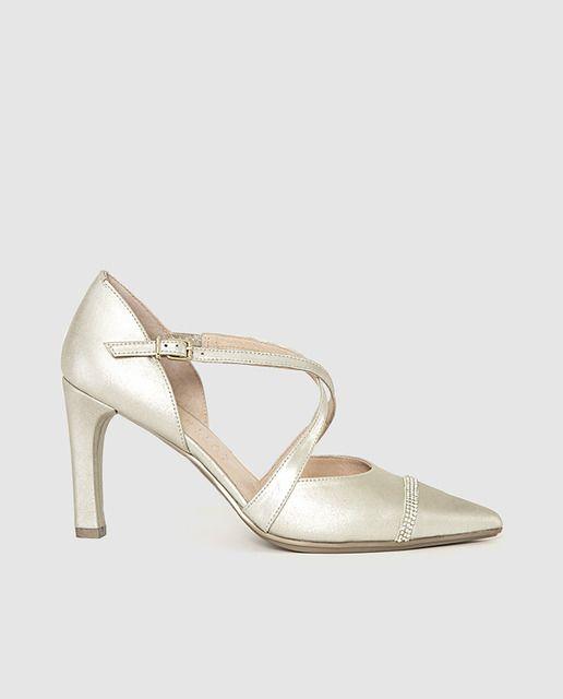 zapatos de salón de mujer de hispanitas de piel en color oro
