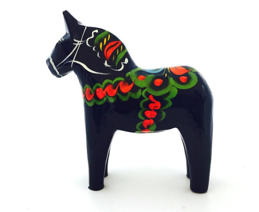 "Carved Wooden Dala Horse (Dalahäst) -Blue 5""Tall ---------- Nils Olsson Dala Horses( Dalahästar)- Since 1928 The Premier Dala Horse Workshop -Swedish Nation"