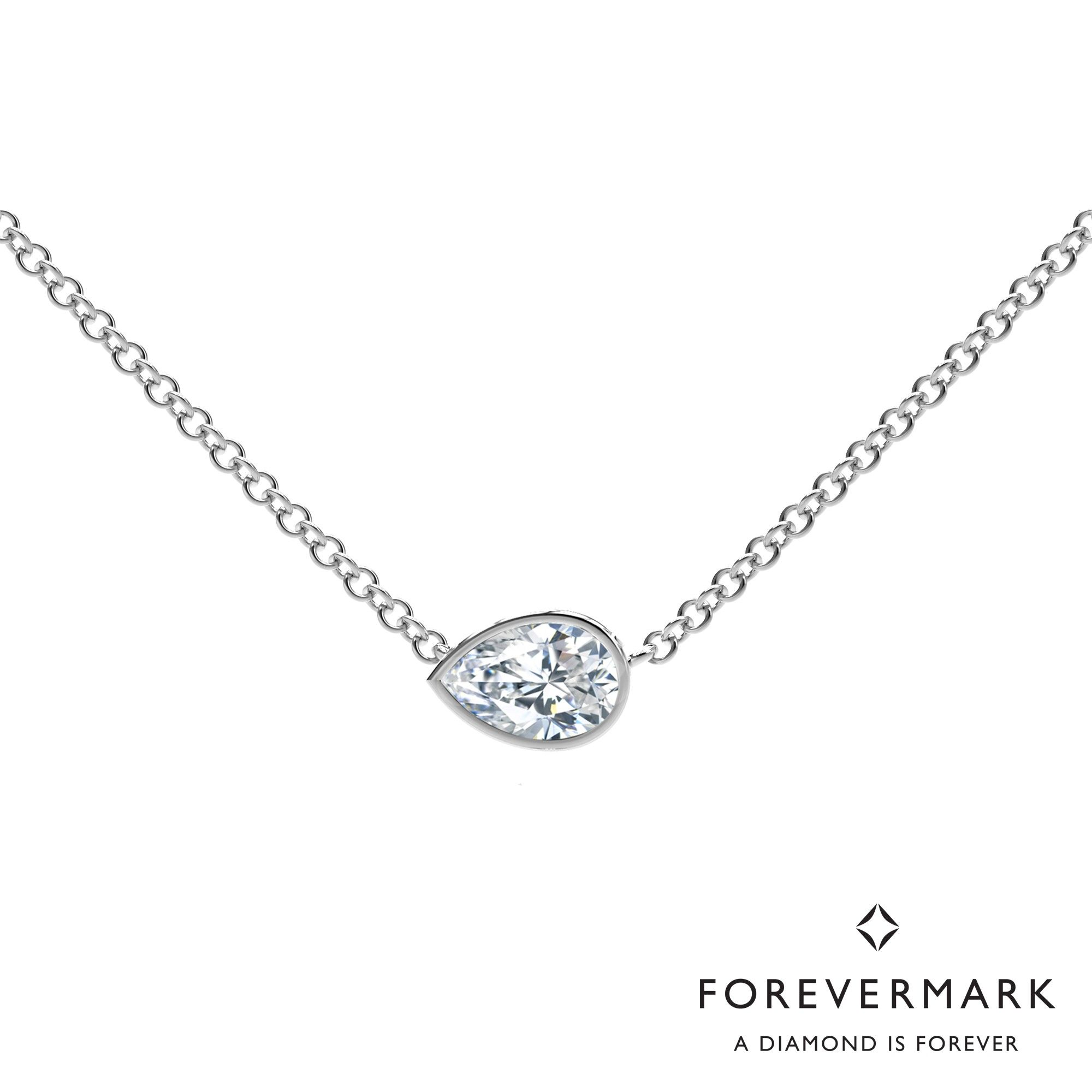 Forevermark tribute collection pear diamond necklace in kt white