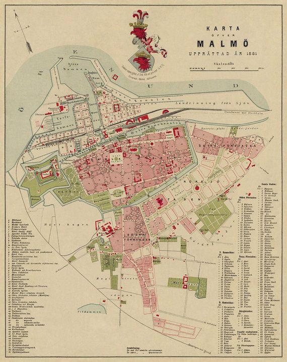 Malmo Map Karta Malmo Old Map Of Malmo Print Premium