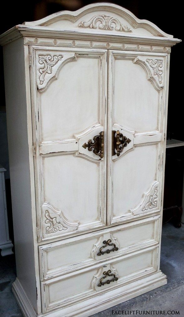 Off White Chunky Clothing Armoire   Before U0026 After. Shabby Chic  FurnitureDistressed ...