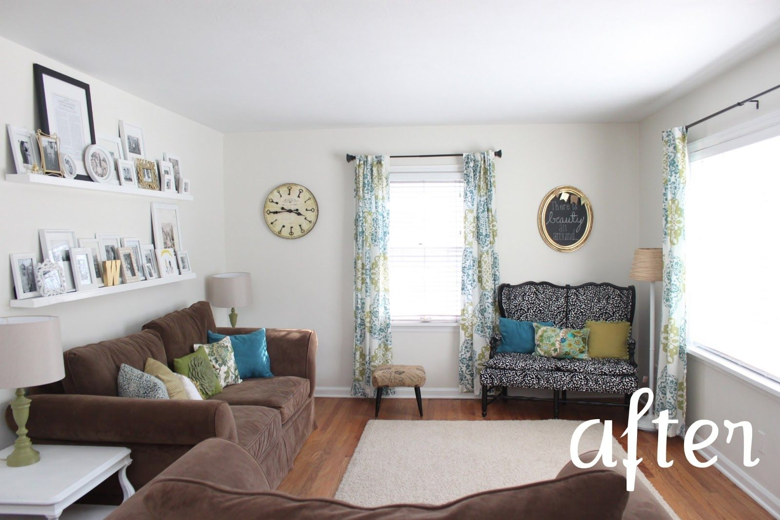 Dark brown couches & white walls. This blog has lots of other great ...