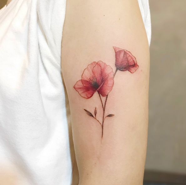 Poppy Tattoo On Arm Tatowierungen Mohn Blume Tattoo Mohnblumen Tattoo