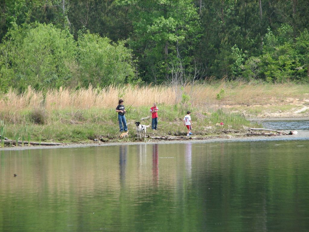 Dakota, Marcus Jr and Nevada Fishing in Pond