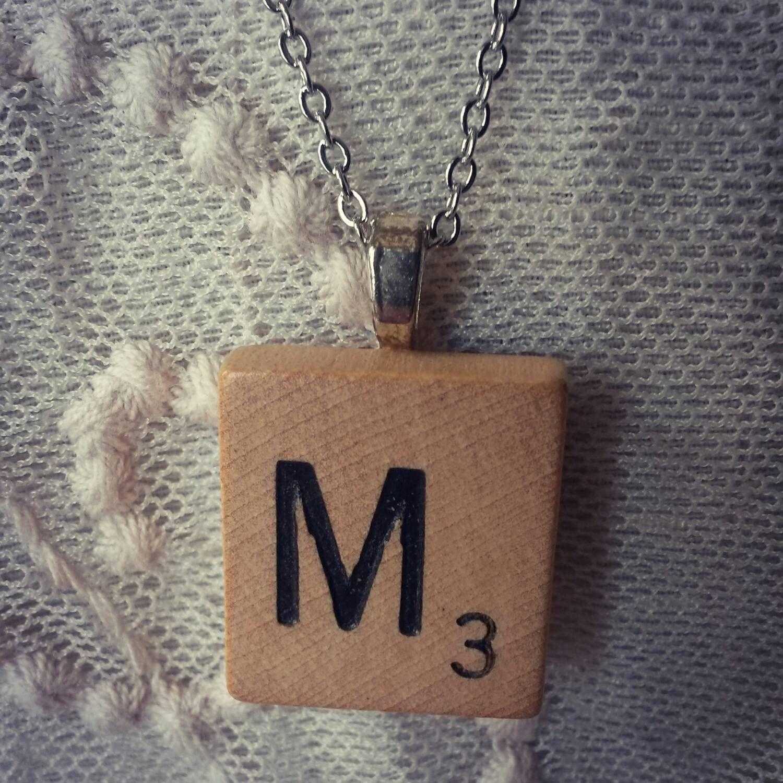Scrabble tile necklace scrabble pendant initial pendant custom scrabble tile necklace scrabble pendant initial pendant custom necklace custom pendant aloadofball Choice Image