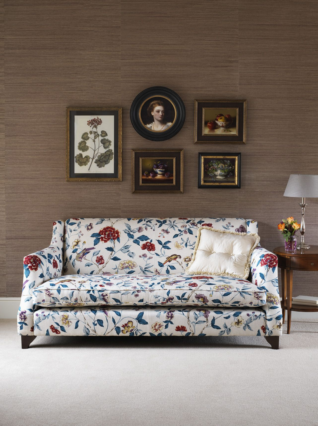 Enslow plain back sofa in Sanderson Sissinghurst WesleyBarrell