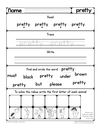 Sight Word Pretty Worksheet Primarylearning Org Sight Word Worksheets Sight Word Practice Preschool Sight Words
