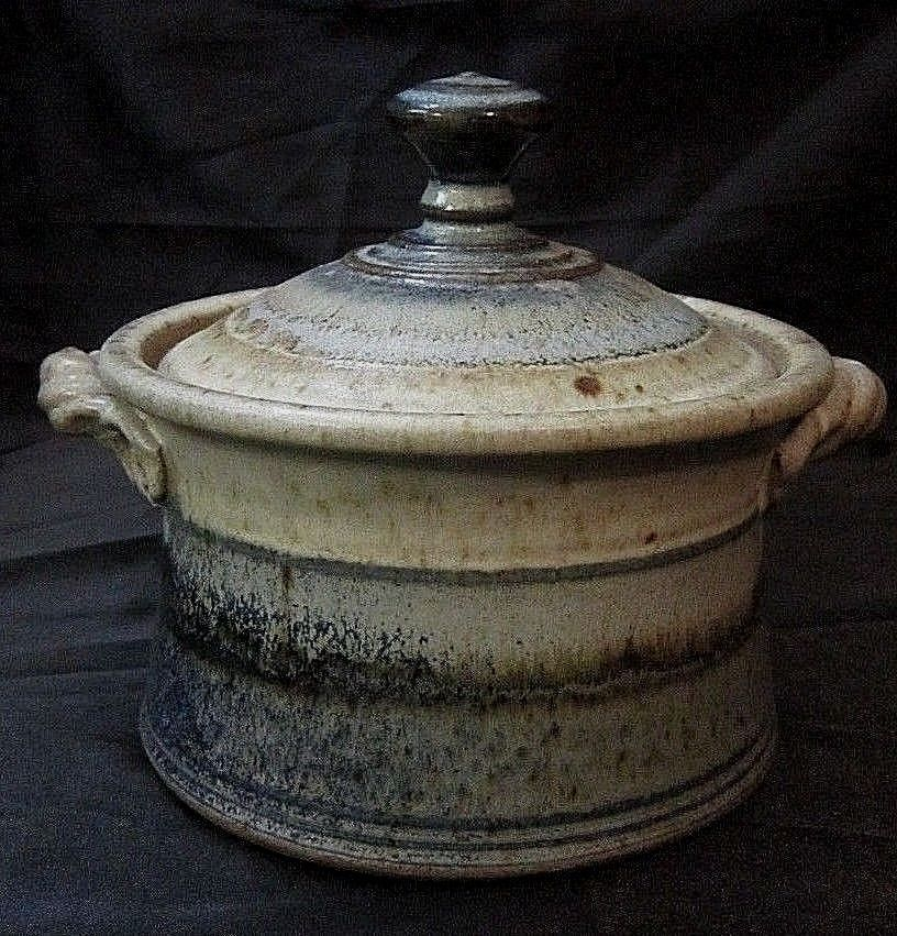 Glazed Art Pottery Covered Crock Pot Casserole Dish Taupe Blue Brown Signed Eclectic 39 99 Pottery Art Pottery Crock