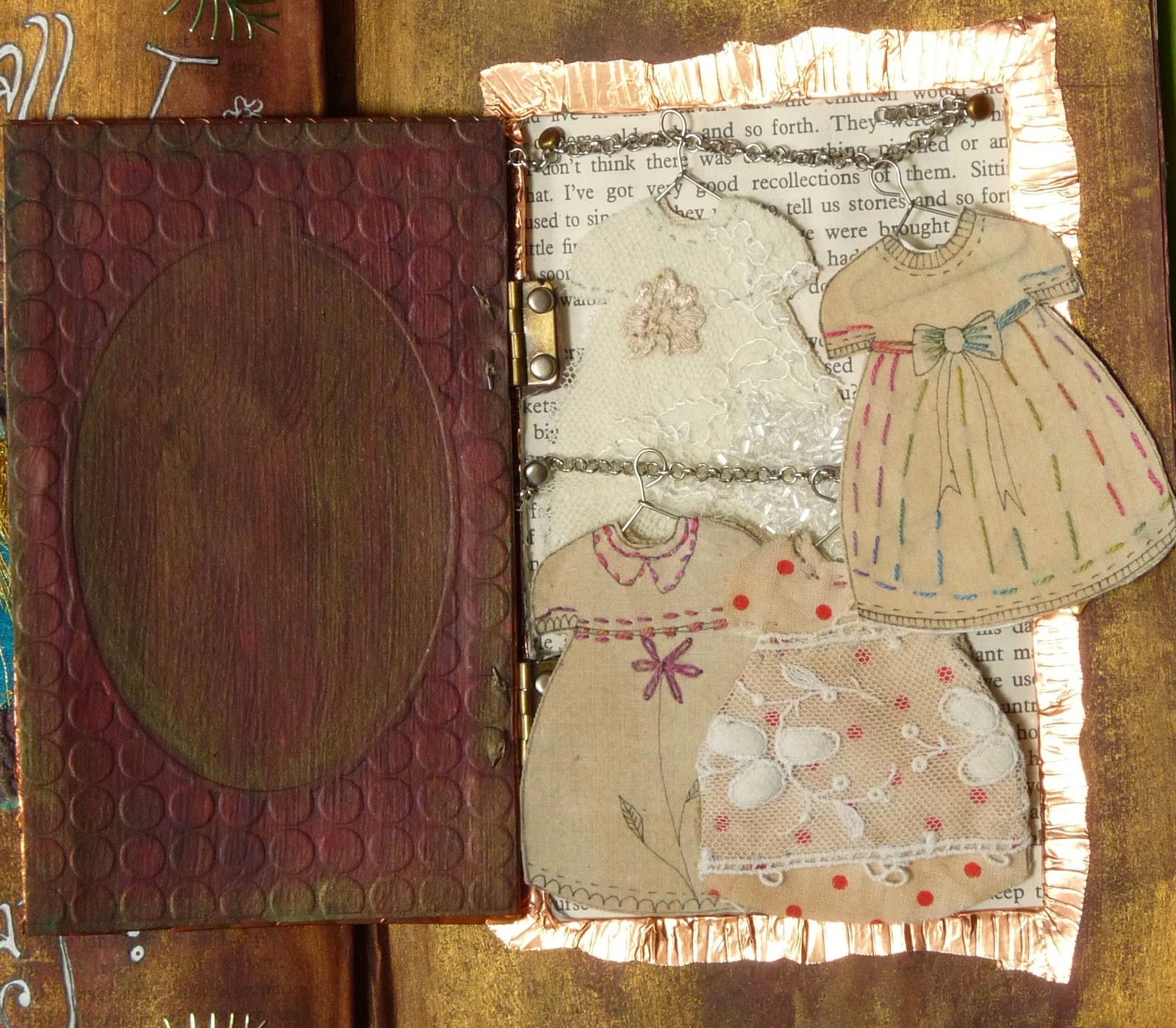 Freckles and Flowers..Altered Book  'A Stitch in Time' Dresses made from vintage fabric and hand stitching.