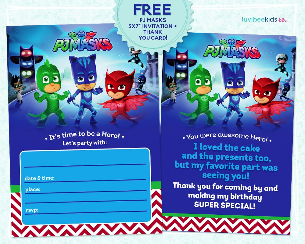luvibee kids company  pj masks invitation printable