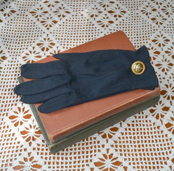 1960s Dark Blue Dawnelle Wrist Gloves